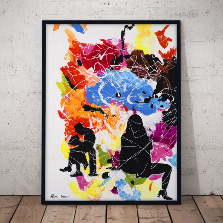 people abstract colorful painting canvas print by ron deri
