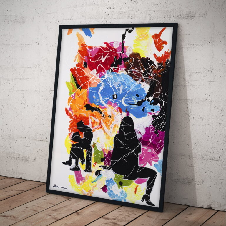black people silhouettes on colorful background painting by ron deri
