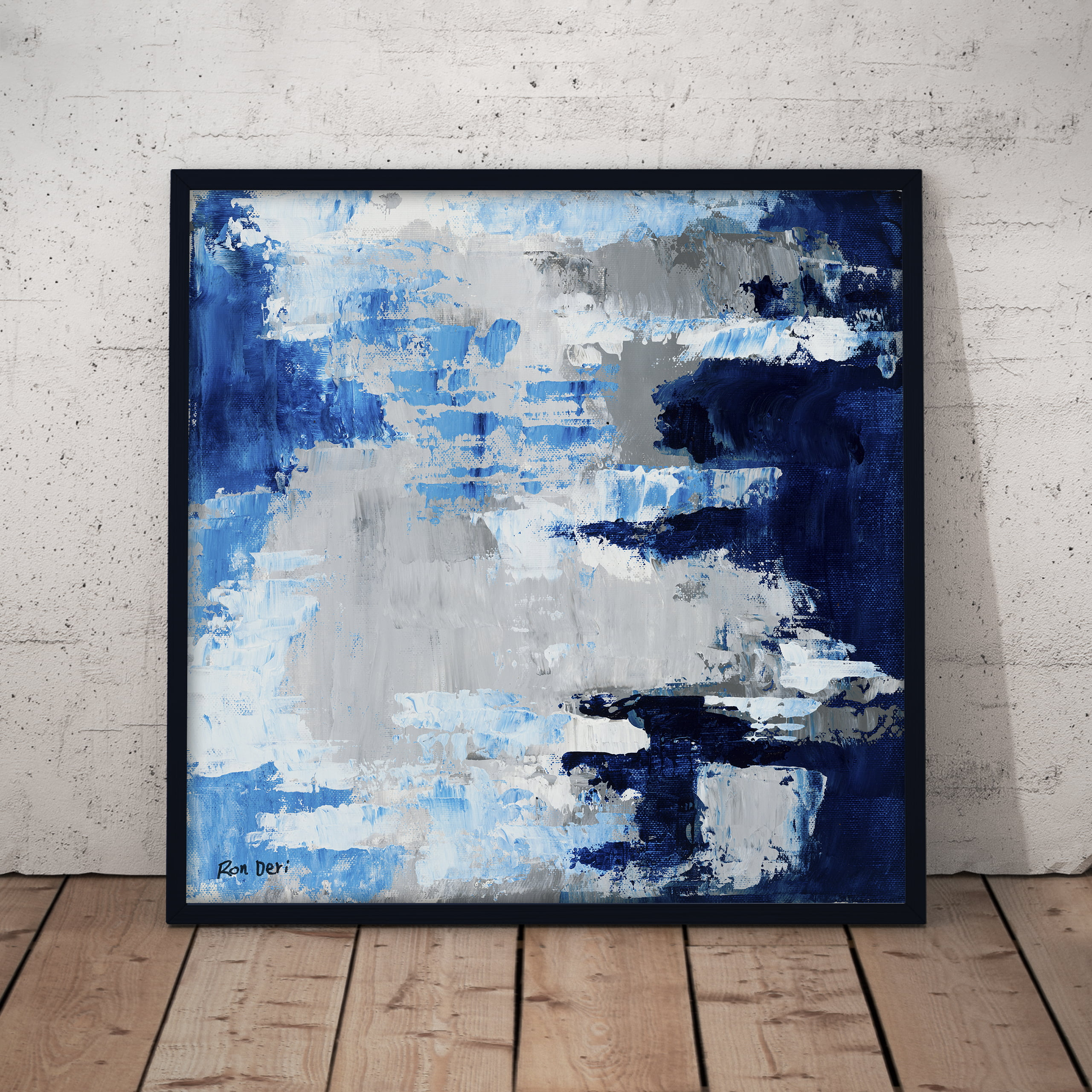 sky pattern blue white grey abstract art by ron deri