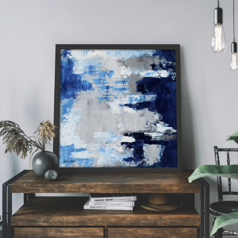 blue white azure sky and clouds scene art for sale by ron deri