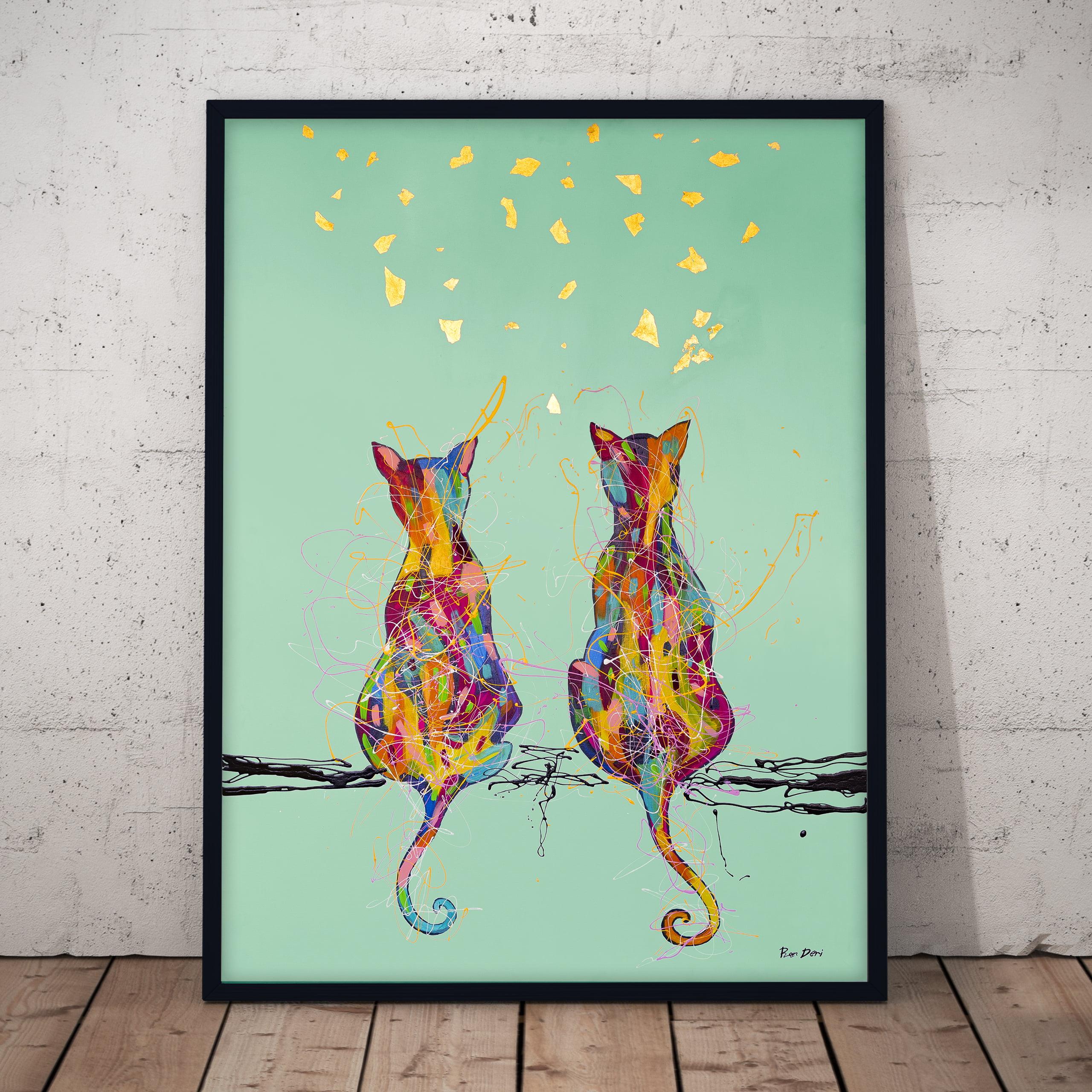 cats watching butterflies canvas wall art by ron deri