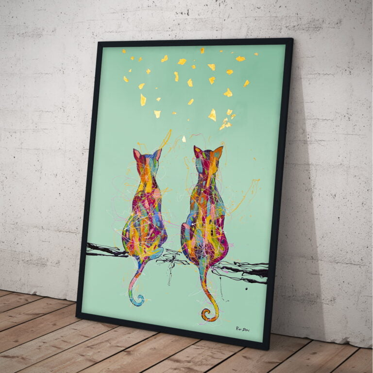 couple of cats watching butterfly canvas wall art by ron deri