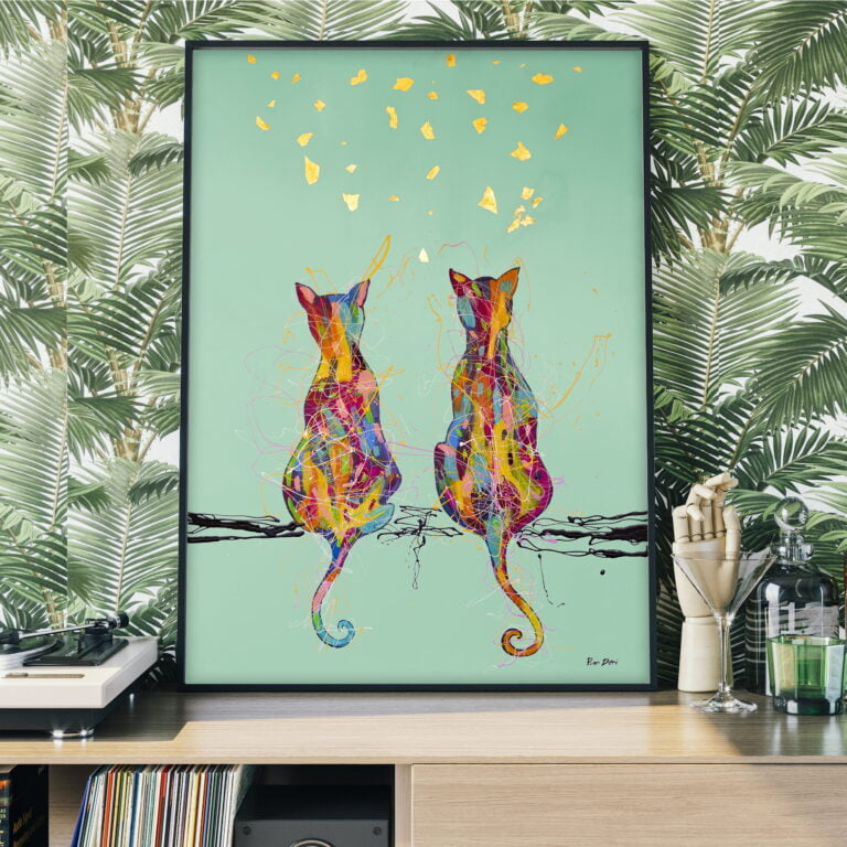 cat couple, animal, pet, nature canvas wall art for sale by ron deri