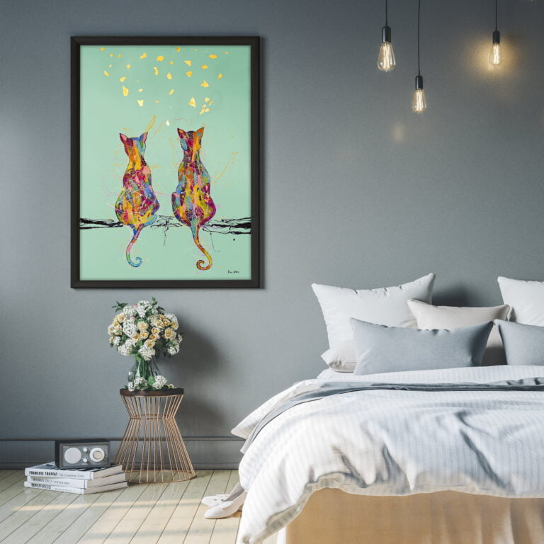 double cats from back wall art on canvas modern contemporary art by ron deri