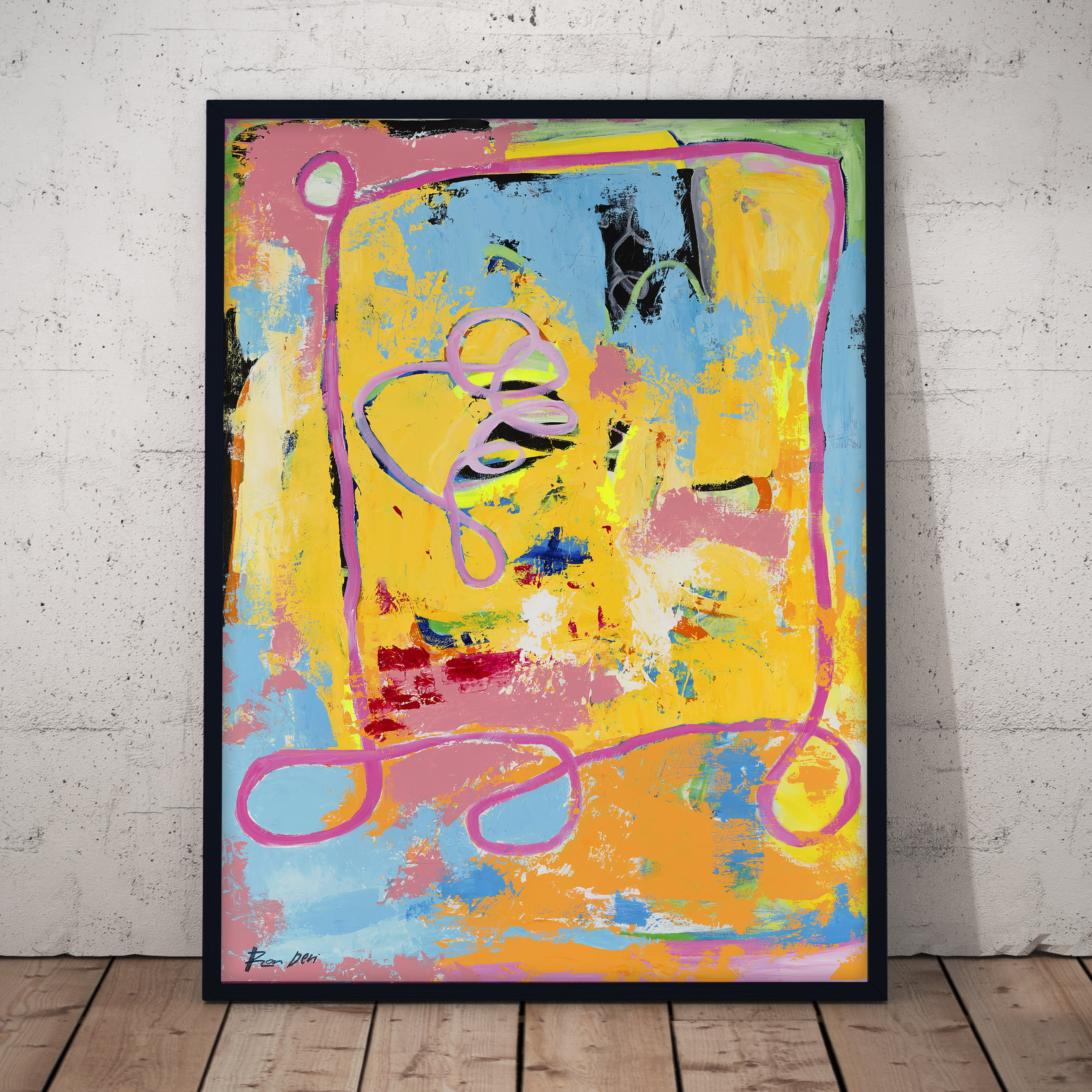 yellow-pink-banana-strawberry-abstract-wall-art-ron-deri-1