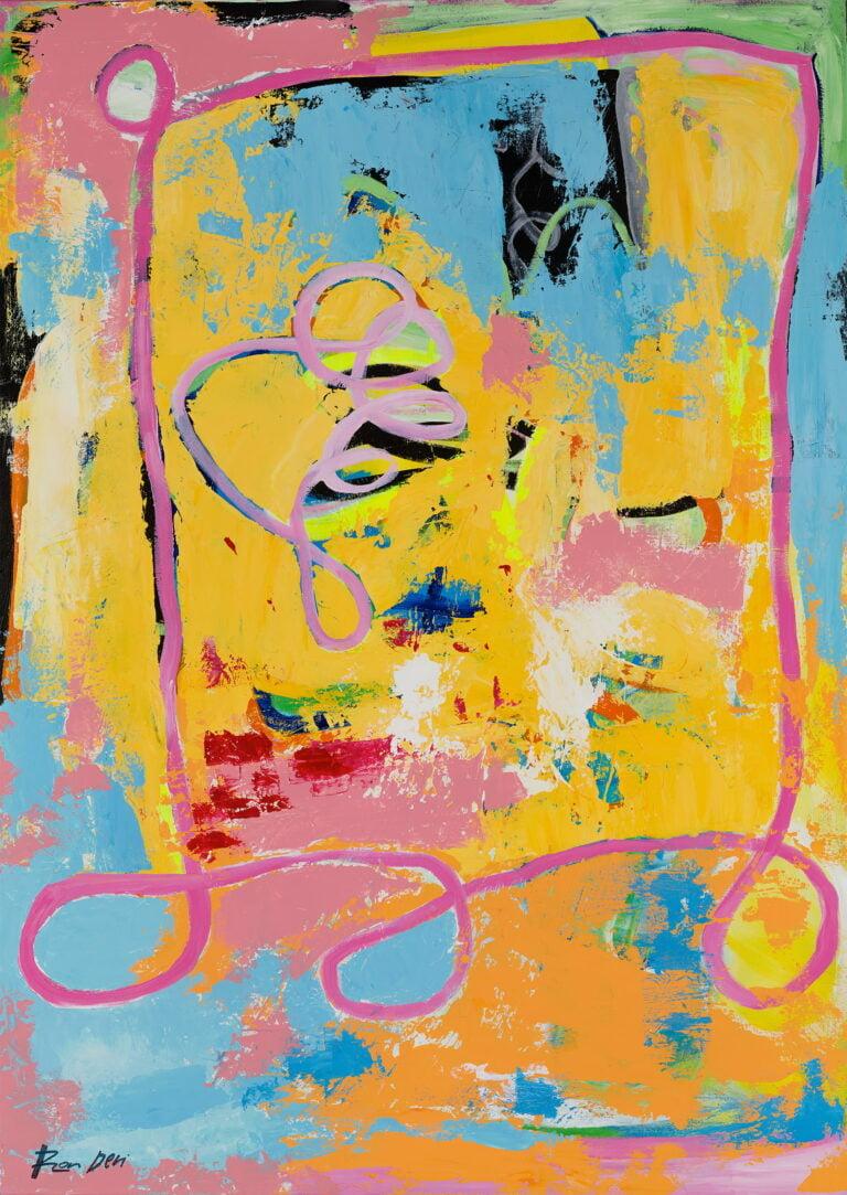 yellow-pink-banana-strawberry-abstract-wall-art-ron-deri-vis