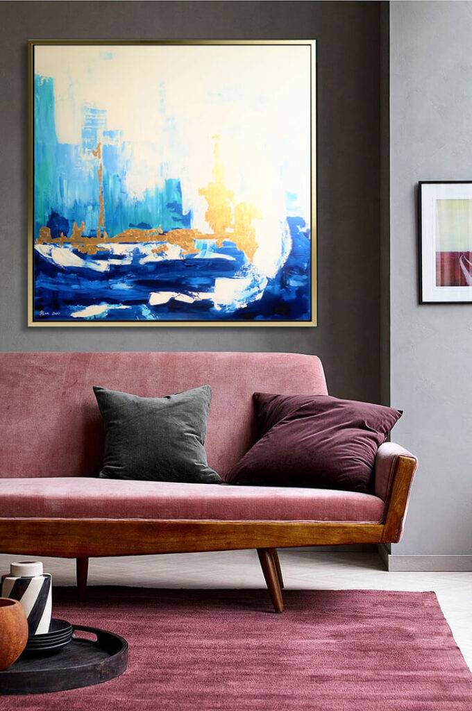 skyline_blue_gold_clowds_abstract_art_painting_on_canvas_large_wall_art_ron_deri