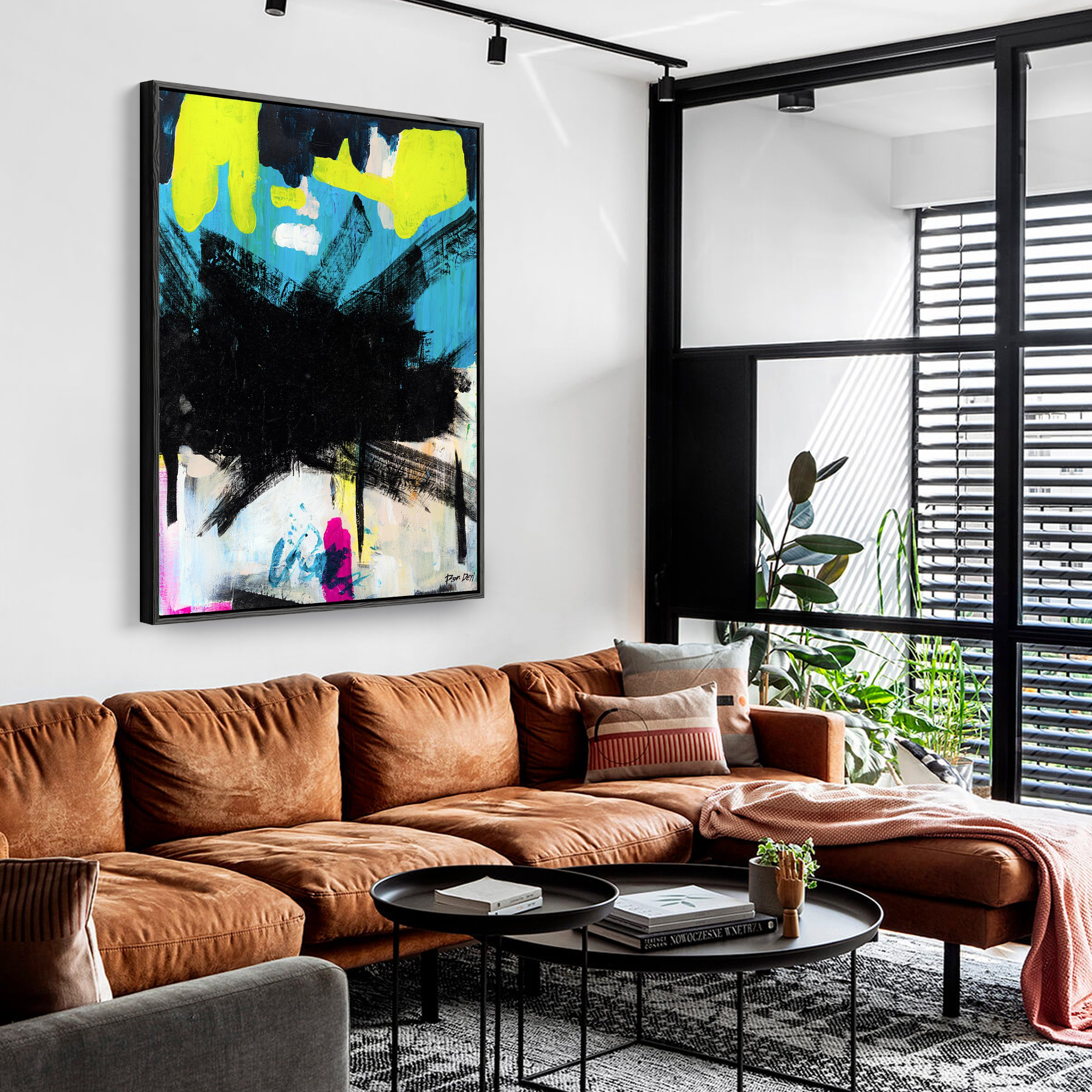loft-ron-deri-5-black-art-abstract-painting-for-sale