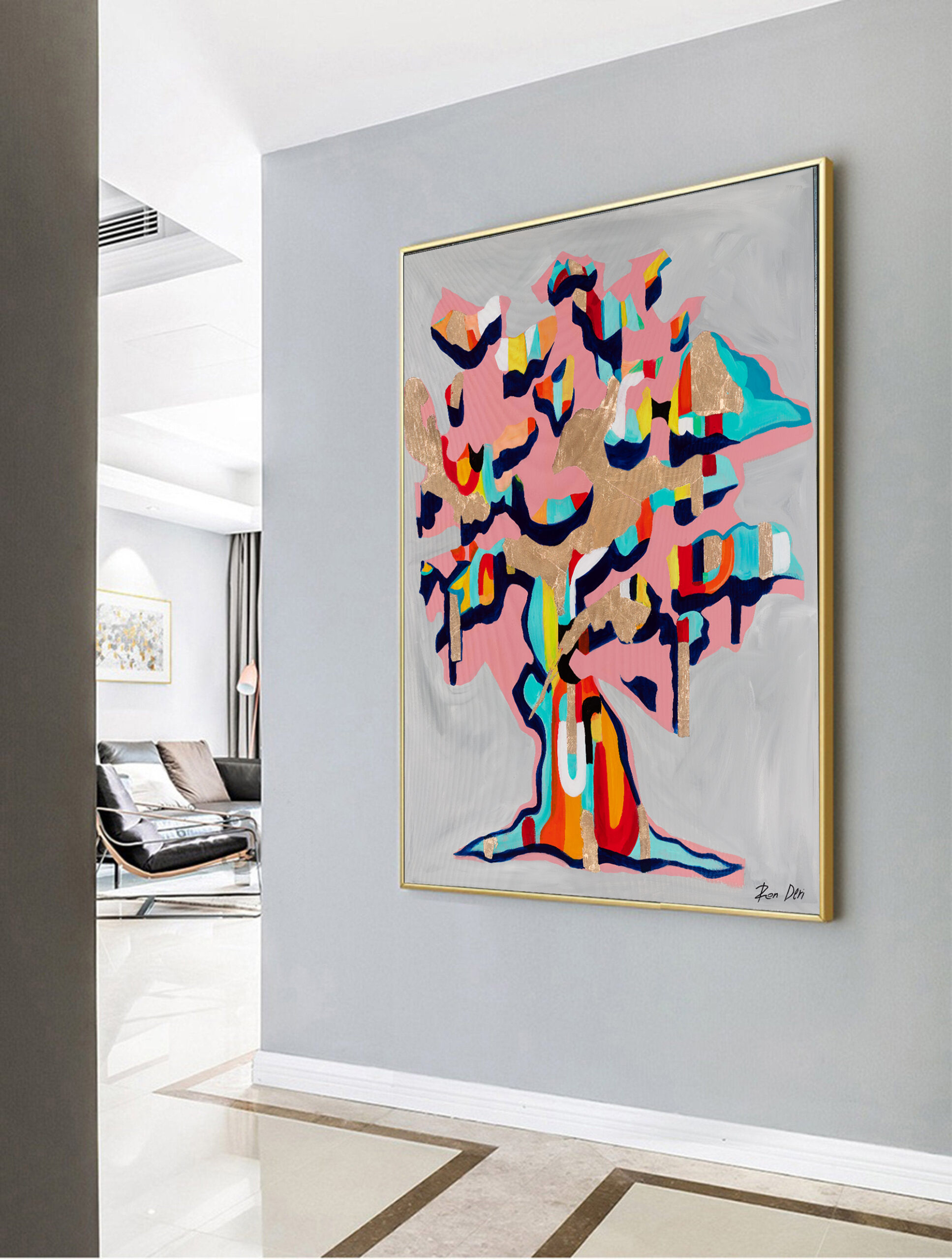 tree-of-life-abstract-painting-colorful-gold-leaf-art-ron-deri